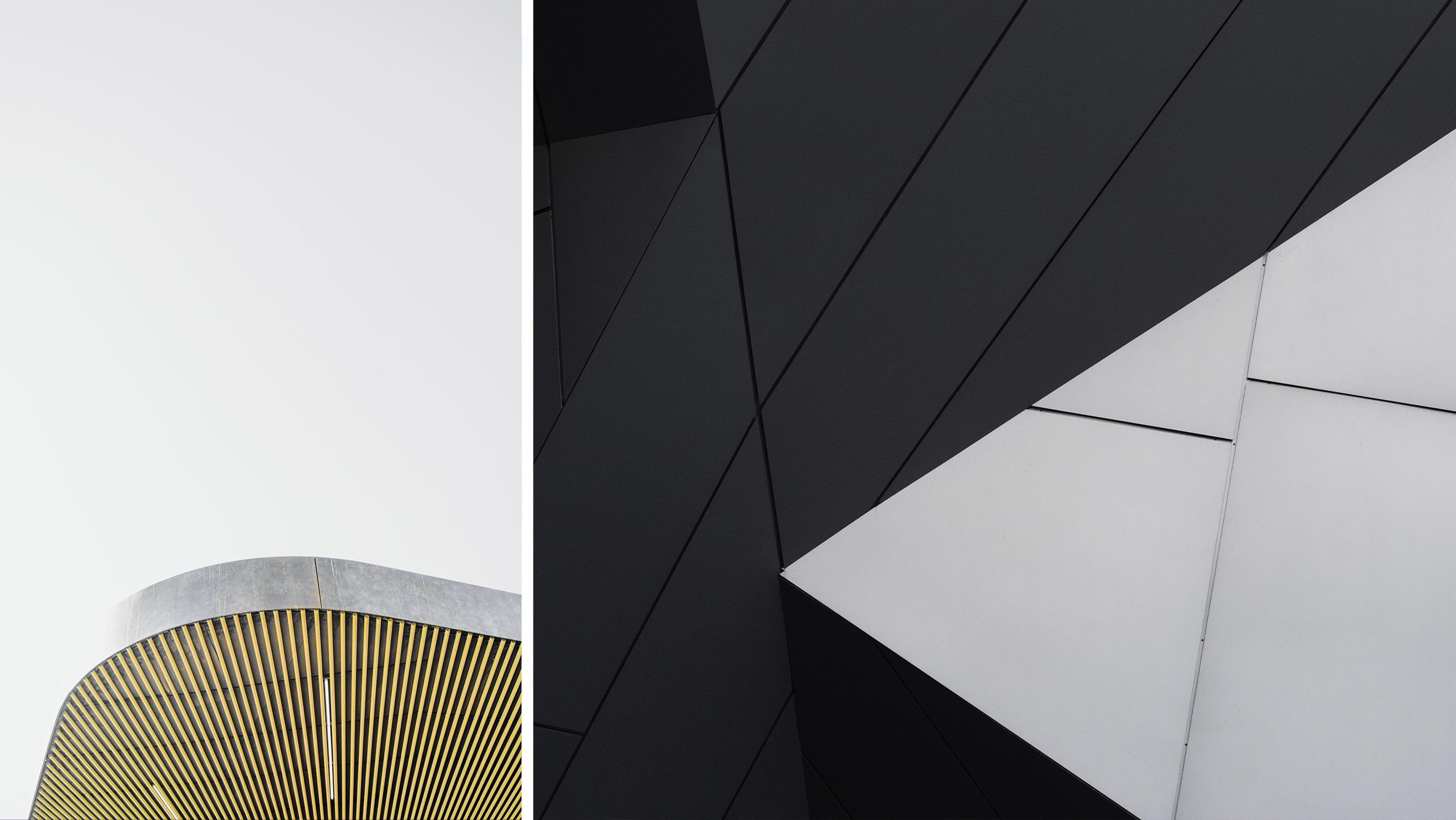 Architekturelemente. Eine Lamellenstruktur und eine spitz zulaufende Kante als markante Details im Ausstellungsbau.